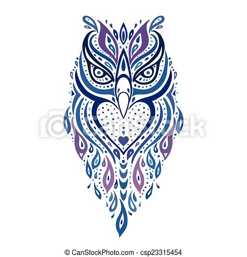 Decorative Owl. Ethnic pattern. - csp23315454