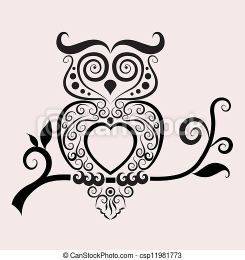 Decorative owl vector - csp11981773