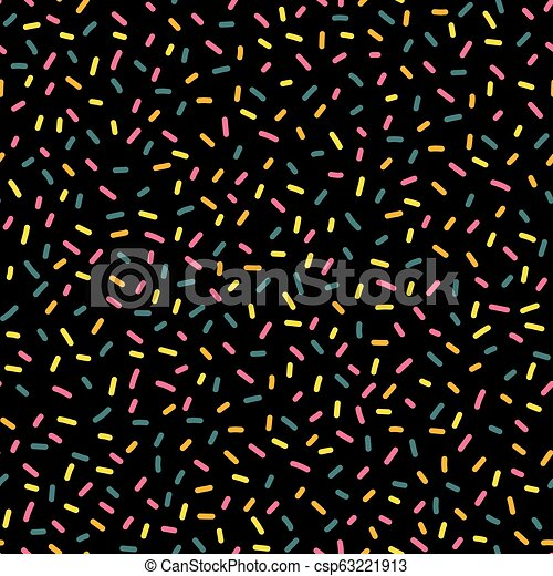 Decorative Party Sprinkles Seamless Repeat Vector Pattern Blue Yellow And Pink Candy Kids Party Decor On Black Background Great For Birthday