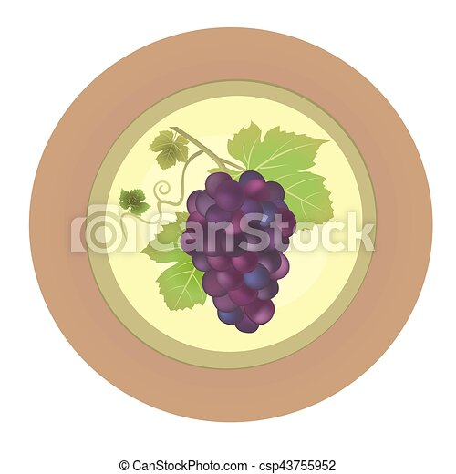 Decorative plate with red grapes vector - csp43755952