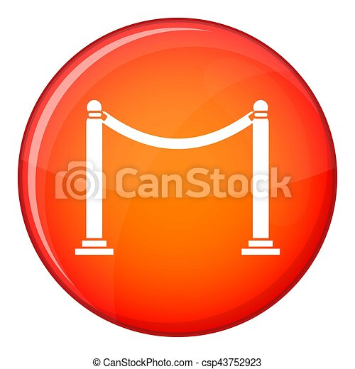 Decorative poles with tape icon, flat style - csp43752923