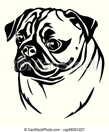 decorative portrait of pug vector illustration decorative portrait in profile of dog pug vector isolated illustration in https www canstockphoto com decorative portrait of pug vector 58351227 html