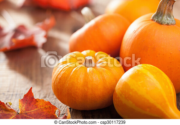 decorative pumpkins and autumn leaves for halloween - csp30117239