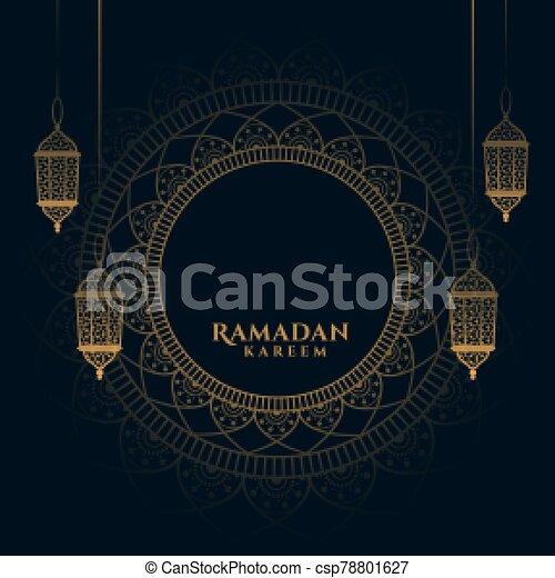 decorative ramadan kareem background with arabic lanterns - csp78801627