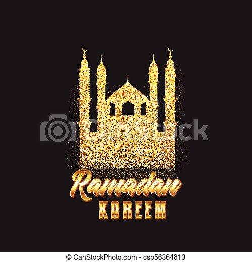 Decorative Ramadan Kareem background with glitter mosque - csp56364813