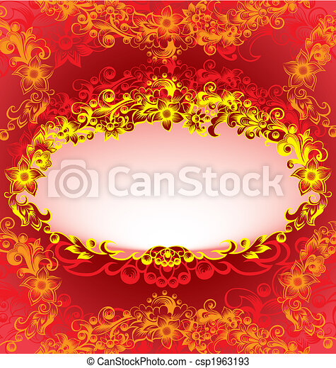 Decorative Red Floral Frame - csp1963193