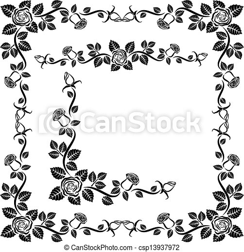 decorative roses rose border frame and corner