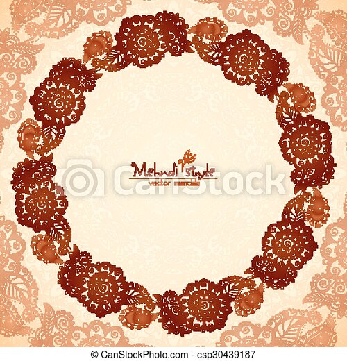 Decorative round frame in indian mehndi style. Vector decorative ...