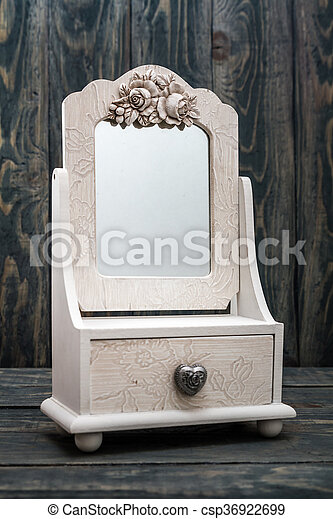 Decorative Rustic White Mirror White Mirror - csp36922699