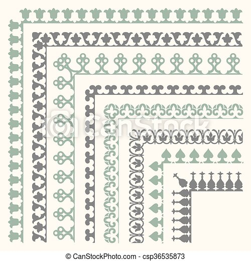 Decorative seamless border - csp36535873