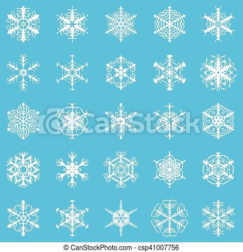 Decorative snowflakes set on blue background - csp41007756