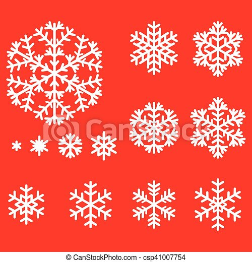 Decorative snowflakes set on red background - csp41007754
