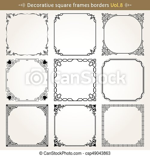 Decorative square frames and borders set 8 vector - csp49043863
