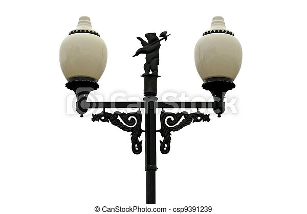 Decorative streetlight, isolated on a white background. - csp9391239