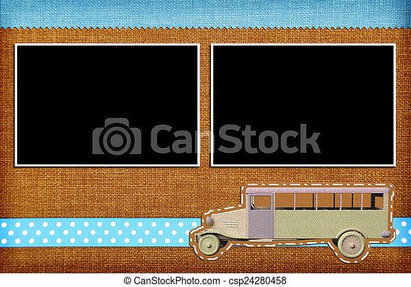 Decorative template with photo frames. Scrapbook, photobook concept - csp24280458