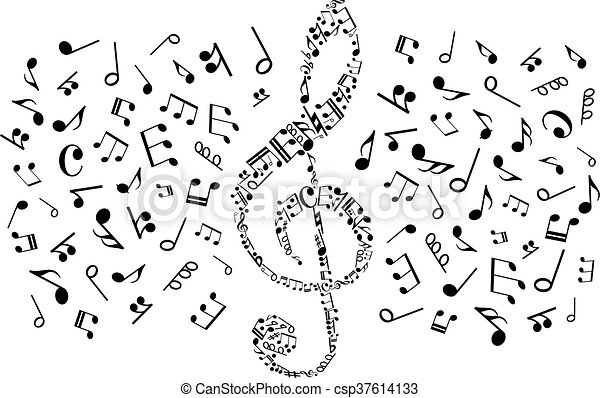 Decorative Treble Clef With Musical Notes Symbols Decorative Music