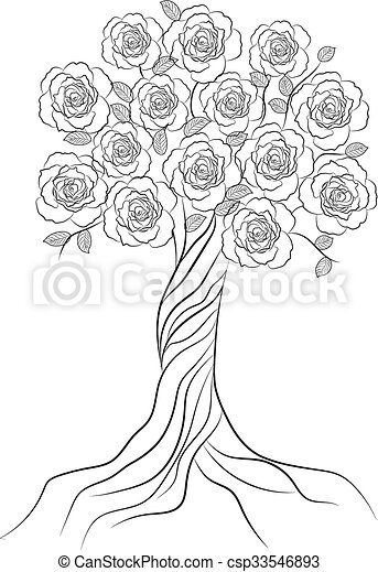 Decorative tree with flowers isolated on white background. - csp33546893