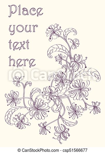 Decorative Vintage Floral Corner Drawn With Purple Ink On Light Yellow Paper