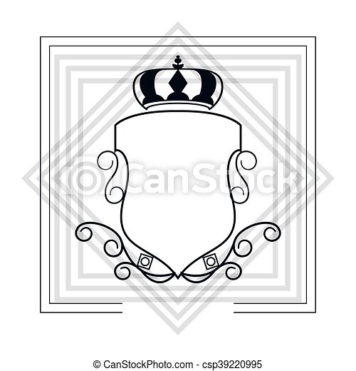 decorative vintage frame with crown icon - csp39220995
