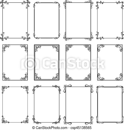 . Decorative vintage frames  Vector black borders isolated on white  background  Frame templates for cards design