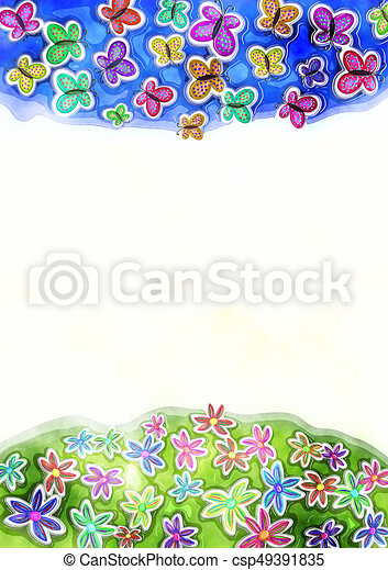 Decorative Watercolor Spring Butterfly and Daisy Border - csp49391835