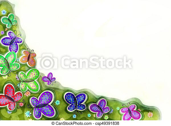 Decorative Watercolour Spring Butterfly Border - csp49391838