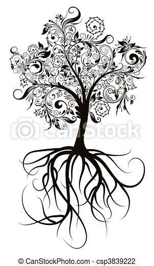 decorativo, árvore, vetorial, ilustração - csp3839222