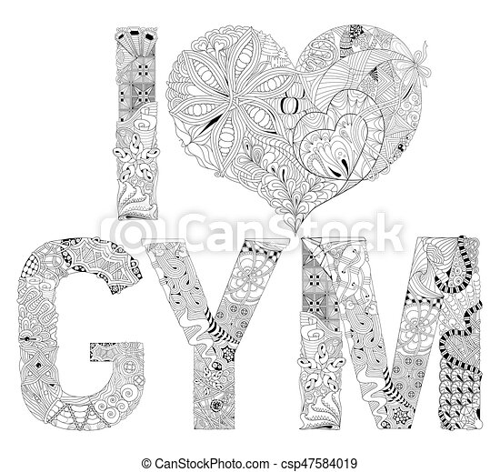Decorativo, amor, coloring., gimnasio, objeto, vector, zentangle ...