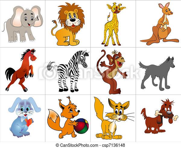 decorativo, animales, alegre, kit - csp7136148
