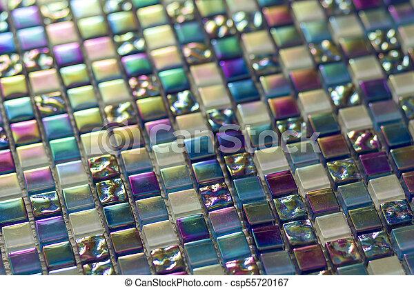 Azul Geométrico Púrpura Y Azulejos Mosaicos Verdes Fondo