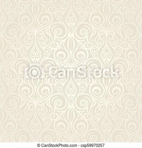 decorativo, bege, vendemmia, carta da parati, ecru, fondo, matrimonio, ramage - csp59970257
