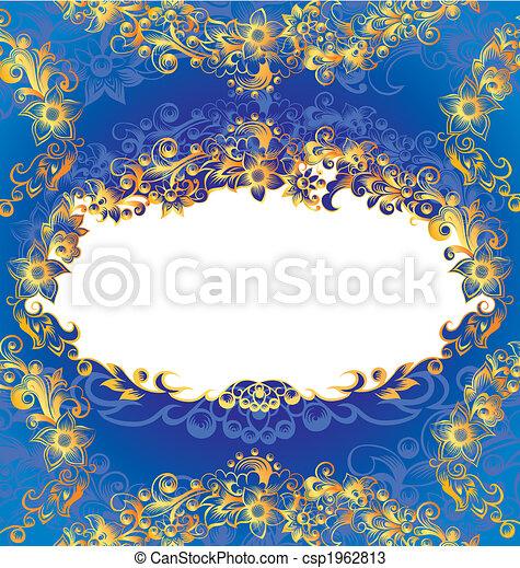 decorativo, blu, cornice, floreale - csp1962813