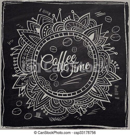 La frontera decorativa del café. Tiza de fondo. - csp33178756