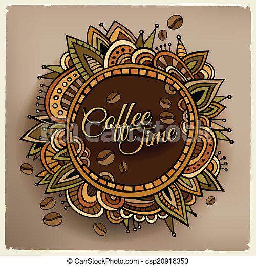 decorativo, caffè, etichetta, disegno, tempo, bordo - csp20918353