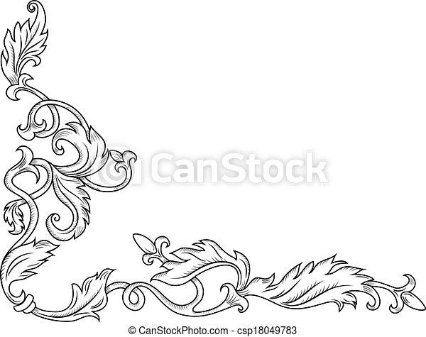 decorativo, canto, ornamento - csp18049783