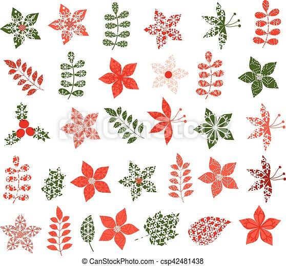 Decorativo, colores, follaje verde, navidad, rojo. Flores, hojas ...