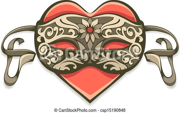 Corazón rojo con máscara decorativa clásica - csp15190848
