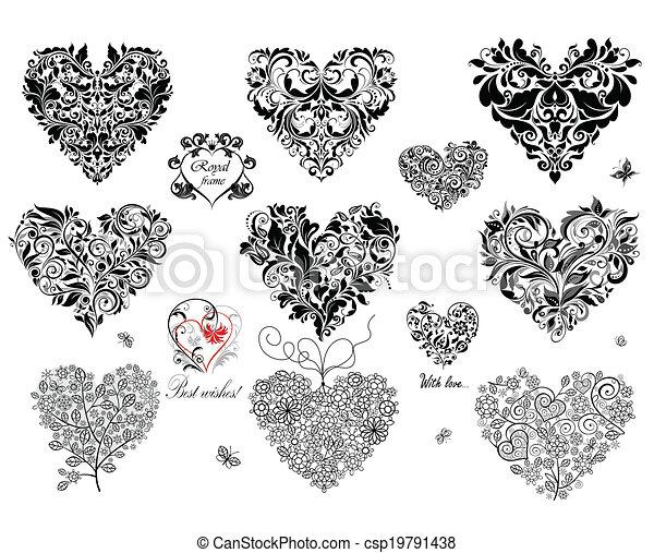 Corazones decorativos negros - csp19791438