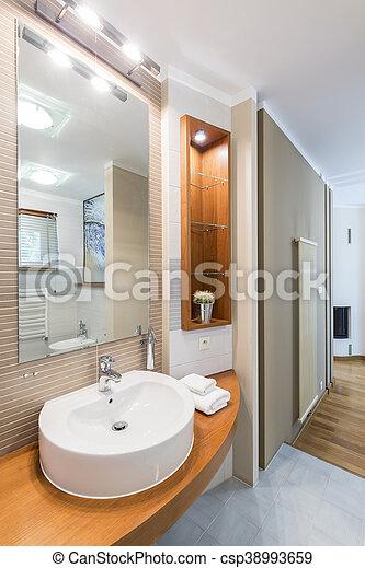 Decorativo, cuarto de baño, iluminación, idea. Decorativo, estilo ...