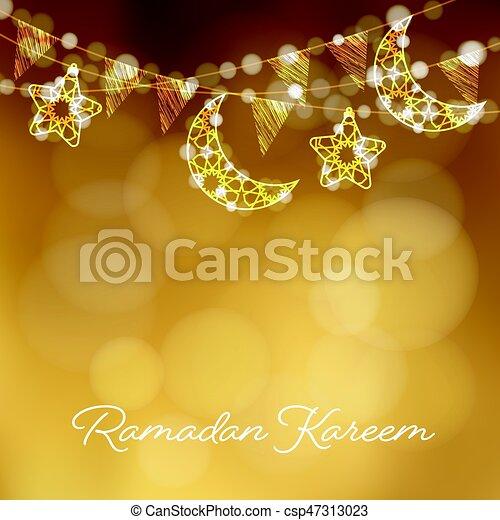Garlands Con Lunas Decorativas Estrellas Luces Y Banderas