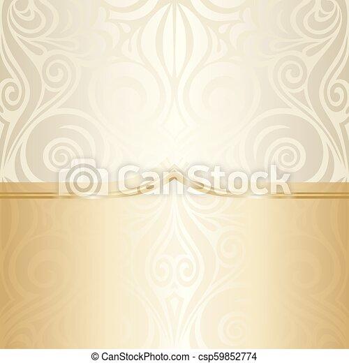 decorativo, dorato, mandala, spazio, vendemmia, bege, ecru, fondo, matrimonio, floreale, copia - csp59852774