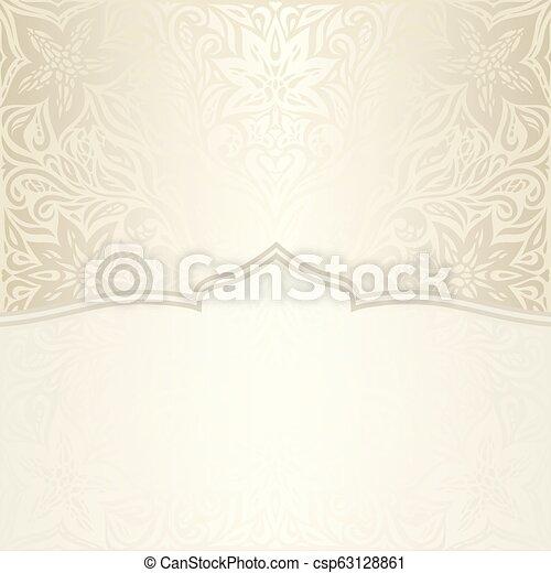 decorativo, dorato, mandala, spazio, vendemmia, bege, ecru, fondo, matrimonio, floreale, copia - csp63128861