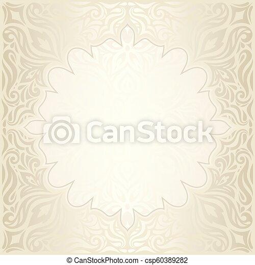 decorativo, dorato, mandala, spazio, vendemmia, bege, ecru, fondo, matrimonio, floreale, copia - csp60389282