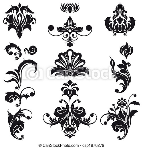 decorativo, elementi floreali, disegno - csp1970279