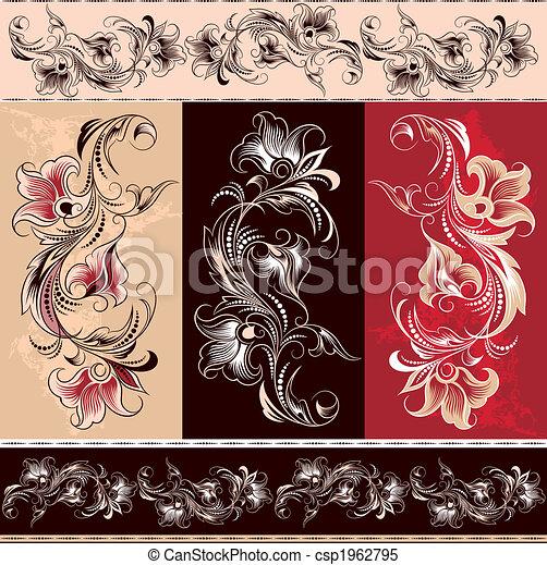 decorativo, elementi floreali, ornamento - csp1962795