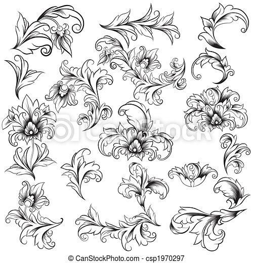decorativo, elementos florais, desenho - csp1970297