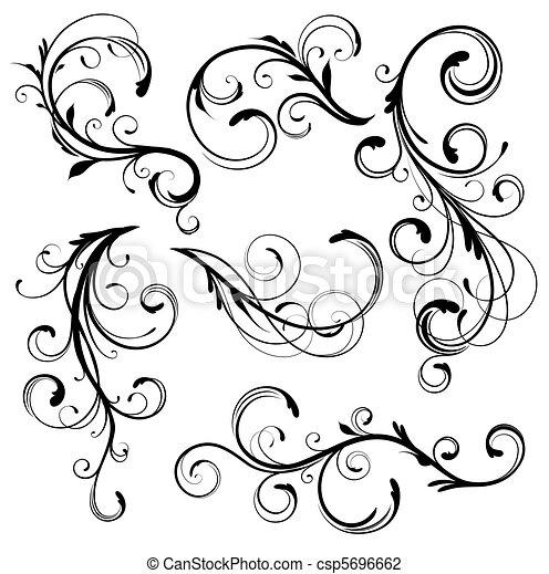 decorativo, elementos florales - csp5696662