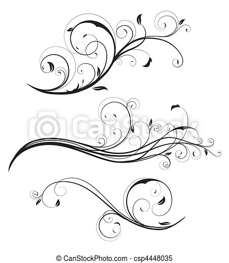 decorativo, elementos florales - csp4448035
