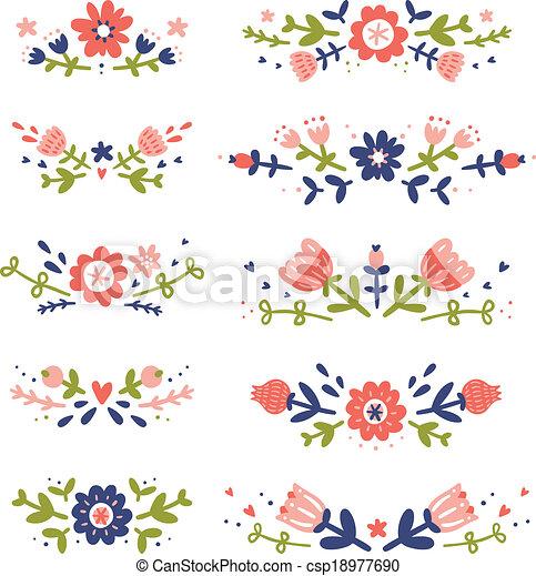 Colección de composición floral decorativa - csp18977690