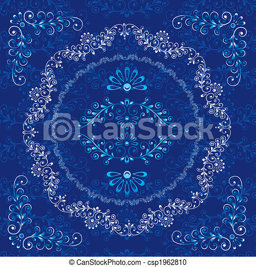 decorativo, floral, quadro, elementos, desenho - csp1962810